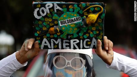 Protests have been staged against Brazil hosting the Copa America.