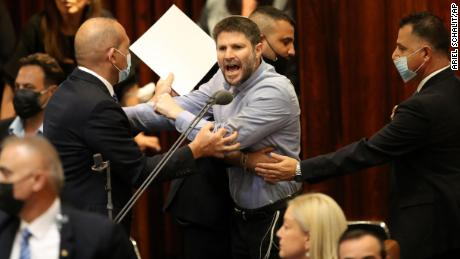 Israeli right wing politician Betzalel Smotrich shouts during a Knesset session in Jerusalem Sunday, June 13, 2021.