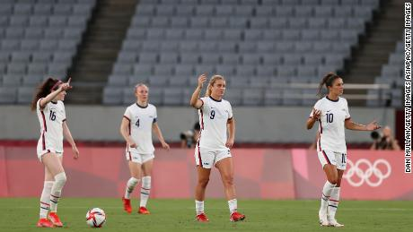 The American players look confused after giving up the second goal.