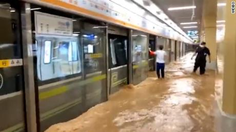 A flooded subway station in Zhengzhou, in China's Henan province, after torrential rainfall on July 21.