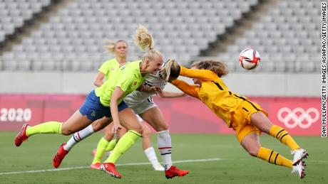 Stena Blacksteinus opens the scoring for Sweden with a clever header.